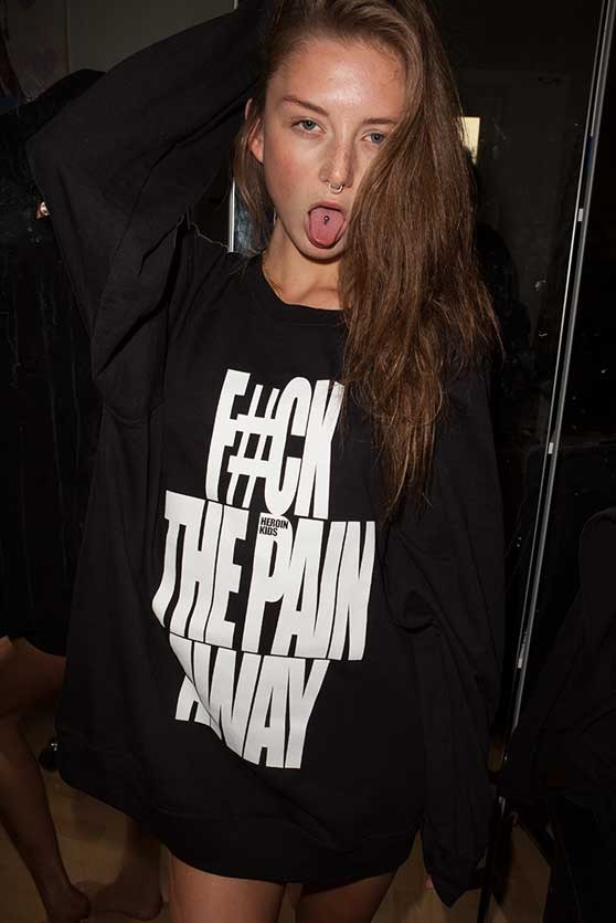 FUCK THE PAIN AWAY SWEATER in Black - WOMEN
