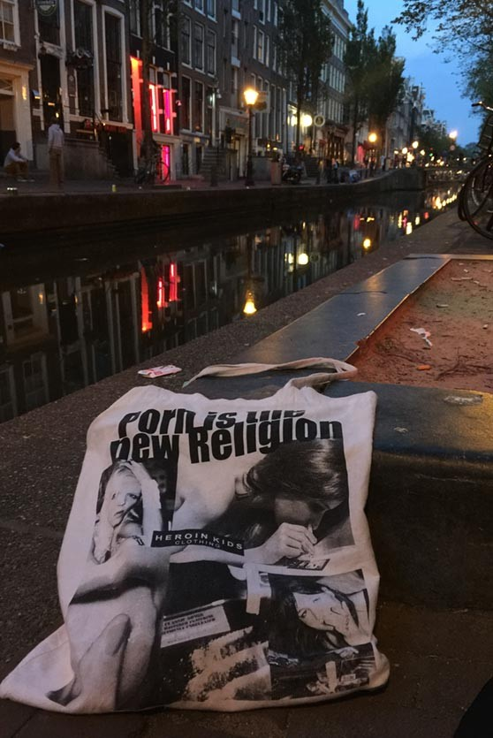 Porn is the new religion bag in white. Rave, Grunge, Punk and Heroin-Chic inspired Fashion by HEROIN KIDS.