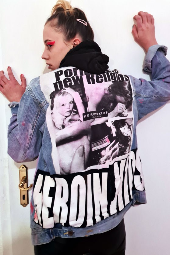PORN IS THE NEW RELIGION jeans jacket